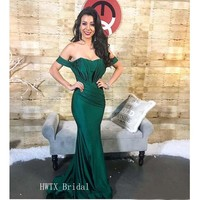 Off The Shoulder Evening Dress Sexy Mermaid Boat Neck Pleats Elastic Satin Floor Length Arabic 2019 Long Prom Party Formal Gown