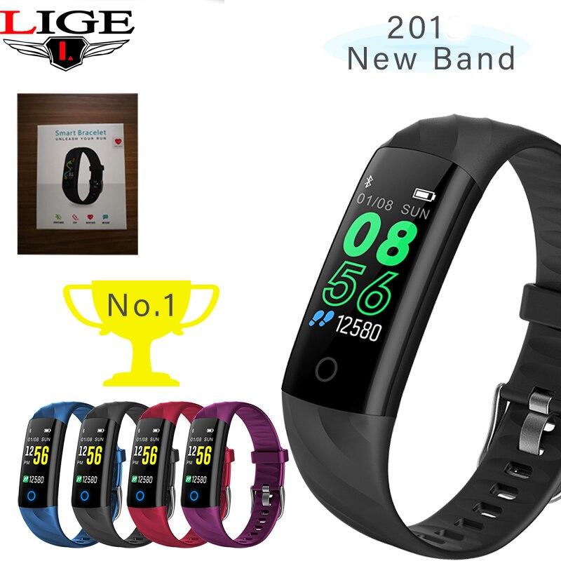 LIGE New Fashion Smart Sport Bracelet Ip67 Waterproof Heart Rate Blood Oxygen Monitor Pedometer Wristband