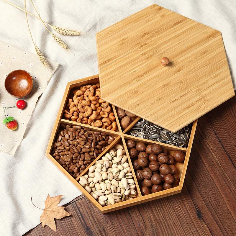 Natural bamboo dried fruit platter creative partition with cover living room simple candy tray snack melon seeds tray plate