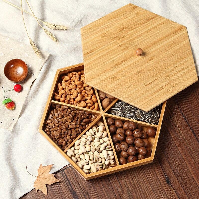Natural de bambu prato de frutas secas partição com tampa criativo sala de estar simples bandeja de doces sementes de melão lanche bandeja prato