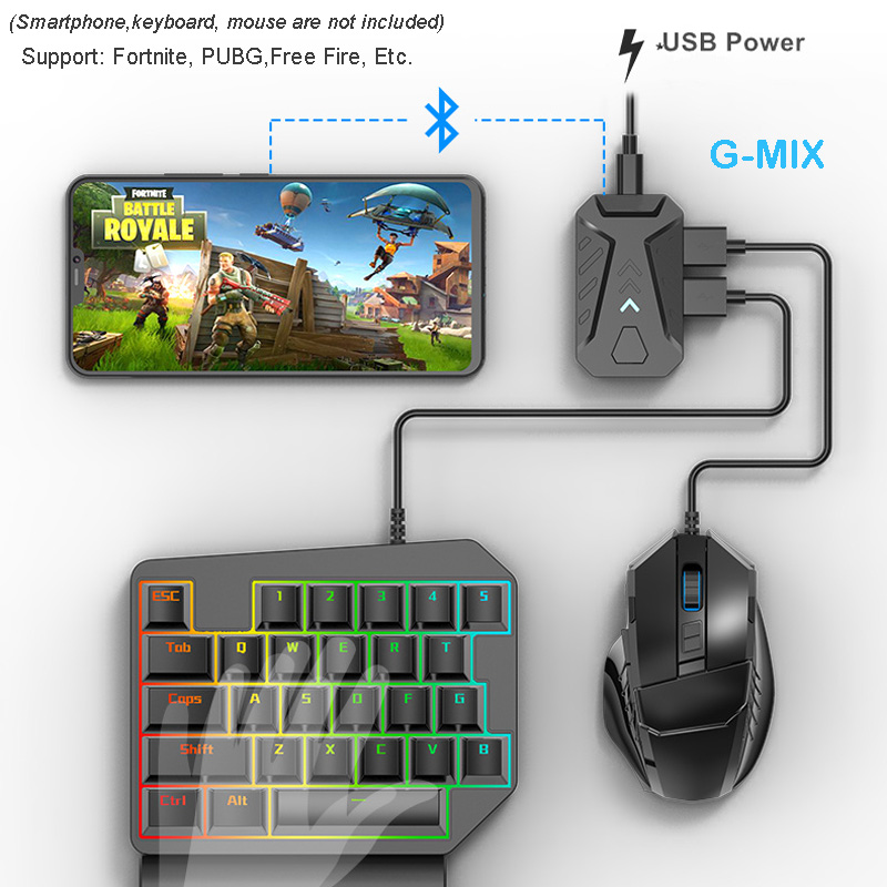 G-Mix Keyboard Mouse Converter PUBG Mobile Controller Gaming Converter Adapter For IOS / Android Smartphone