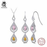 ORSA JEWELS Genuine 925 Sterling Silver Necklace Earrings Sets For Female Double Water Drop Shape AAA