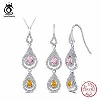 ORSA JEWELS Genuine 925 Sterling Silver Necklace Earrings Sets For Female Double Water Drop Shape AAA