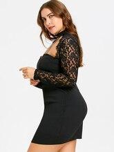 Plus Size 5XL Sexy Black Lace Panel Cut Out Halter Dress