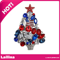 Patriotic American USA Flag Themed Christmas Tree Pin Brooch Silver Tone