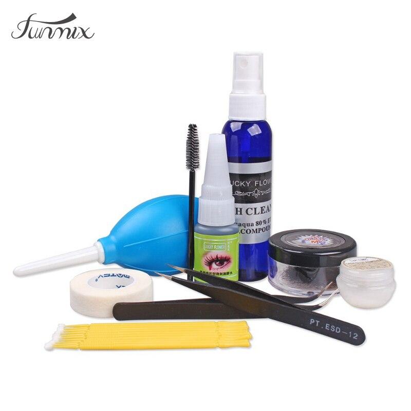 Professionals C Curl False Eyelash Glue Set Lash Extensions Makeup Tools Mink Eye lash Glue Remover Tweezers Stick Brush Kit artdeco lash brush