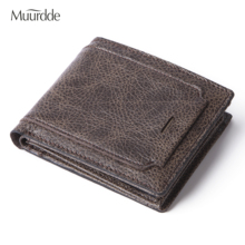 цена на Muurdde Brand Cowhide Men Wallets With Coin Pocket Vintage Man Purse Function Brown Genuine Leather Men Wallet With Card Holder