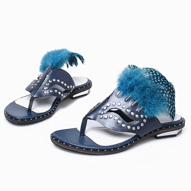 Flop Pic Pic Flip Femme as Chaussures Plume Conception Haute Flamme As Rivets Cuir Bohême Qualité Chaude 2018 De Embelli Masque Pantoufle Femmes En Élégant H1xUUgd