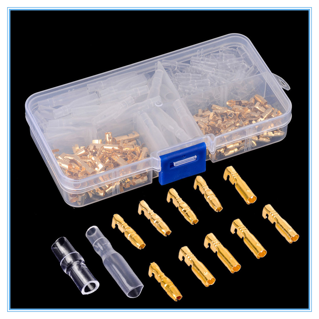 Uninsulated Brass Bullet Connectors 4.7mm Lucas Type Electrical Terminals Crimp