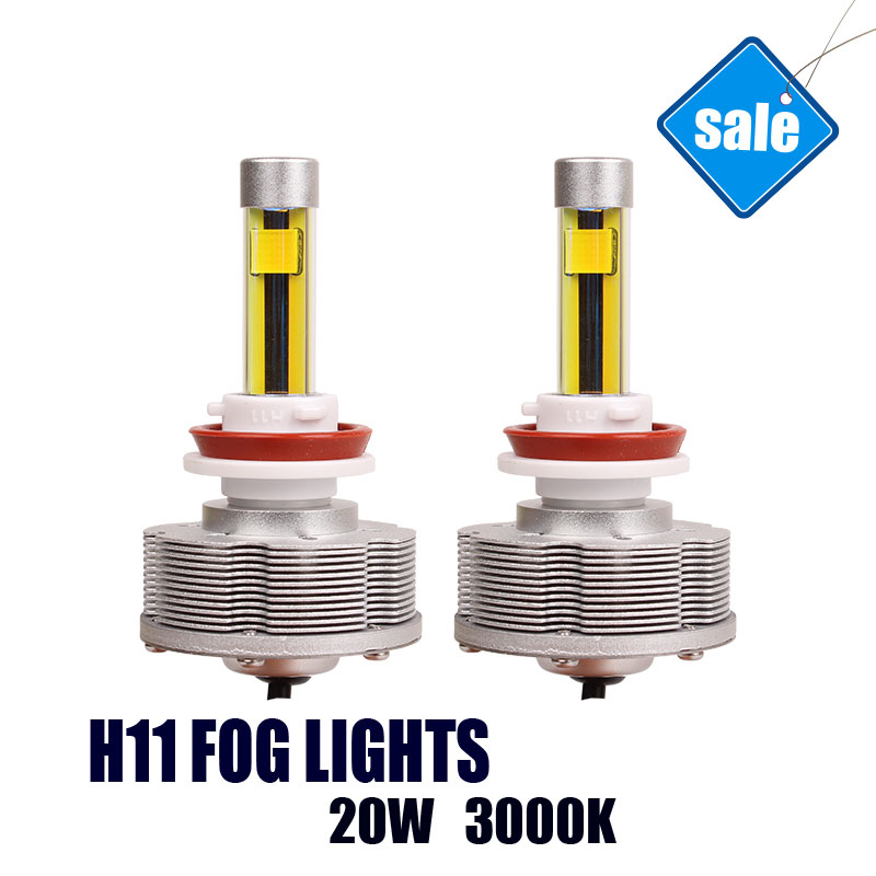 H11 LED Automobile Fog Lamps Car Bulbs Conversion Kit H11 Super Bright 3000K 20W 2400LM Golden Light Car-styling 2pcs h1 led automobile headlight car styling 6000k super bright conversion kit auto head lights