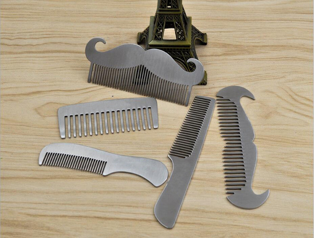 ZGTGLAD stainless steel beard comb anti-static Mustache Brush Gentleman Hair shaping Tools