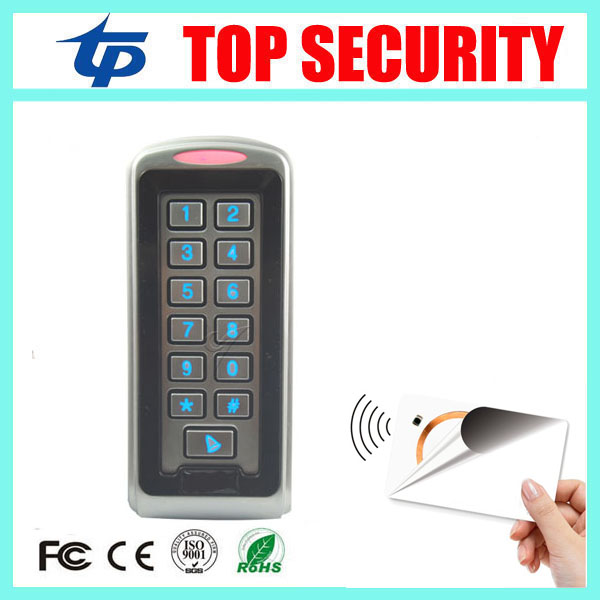 Standalone metal access control card reader 13.56MHZ MF IC card door access control reader system surface waterproof card reader s6 r mf new arrival door entry system 13 56mhz ic card reader wiegand 26 37 bits output ip66 access control reader door opener
