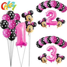 13Pcs Pink Girl Minnie mouse party decorations Birthday Balloons Number 1 2 3 year baby shower helium Dot latex balloon Kids toy(China)