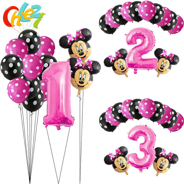 13Pcs Pink Girl Minnie mouse party decorations Birthday Balloons Number 1 2 3 year baby shower helium Dot latex balloon Kids toy