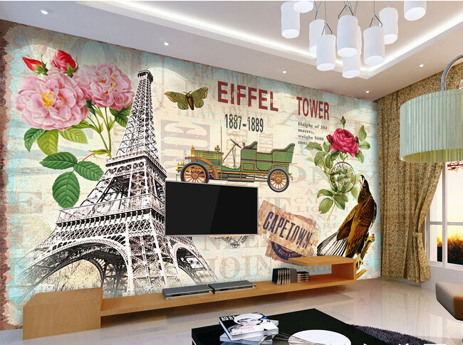 Custom retro wallpaper, Paris tower murals for the living room bedroom TV background wall vinyl papel de parede custom ceiling wallpaper blue sky and white clouds murals for the living room apartment ceiling background wall vinyl wallpaper