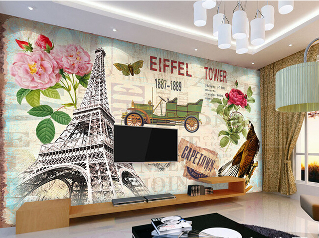 Custom Retro Wallpaper, Paris Tower Murals For The Living Room Bedroom TV  Background Wall Vinyl