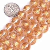 Gem Inside 10 14mm Natural White Rock Quartz Gold Carved Dragon Turtle Tiger Phoenix Beads For