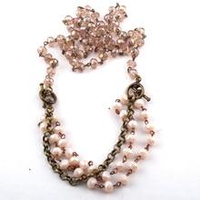 Модные богемные ювелирные изделия из жемчуга 5*8 Хрустальный Розарий звено цепи Цепочки и ожерелья для Для женщин национальное ожерелье
