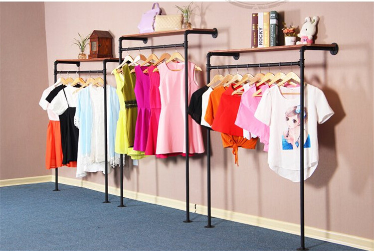 Retro Iron Pipe Coat Rack Clothing Store Shelf Hanging Rod Side Wall Hangers Display-Z14