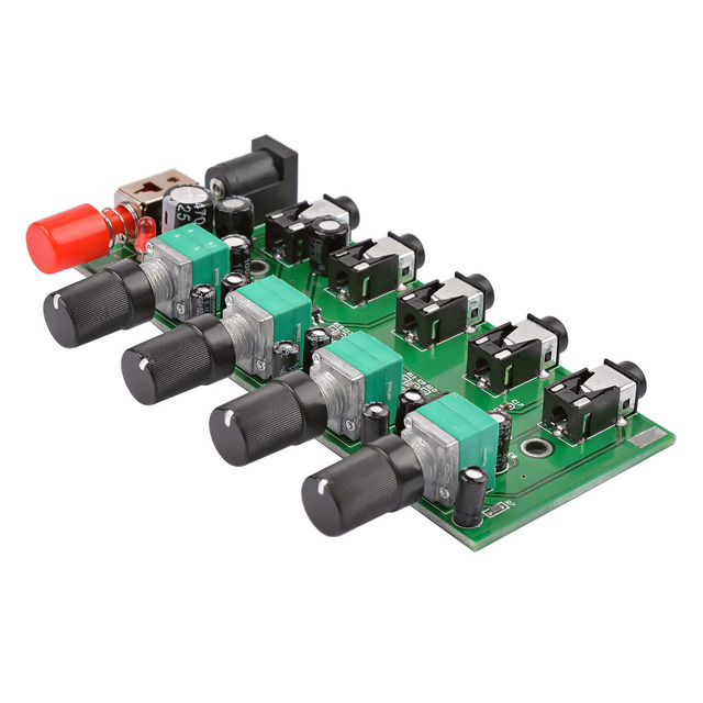 AIYIMA 4 Ways Stereo Audio Mixer Board Drive headphone amplifier Mixing Board DIY NJM3414 Four inputs one output