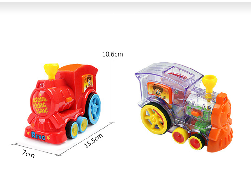 Electric Domino Train Car Vehicle Model Magical Automatic Set Up Colorful Toy US