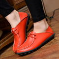 Shoes Women 2017 Spring Casual Genuine Leather Shoes Women Lace Up Flats Shoes Comfortable Shoes Plus Size 35-41cd32