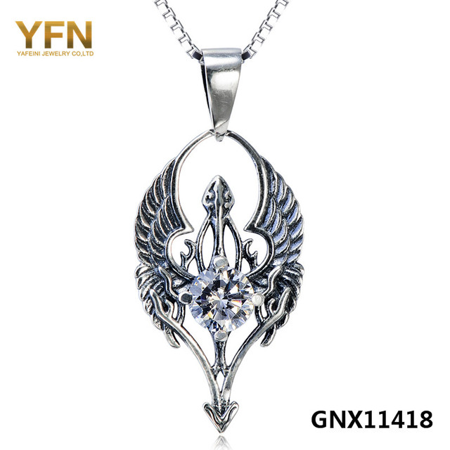 GNX11418 Genuine 925 Sterling Silver CZ Devil Angel Charm Necklace Gothic Style Antique Silver Pendant Necklace Vintage Jewelry