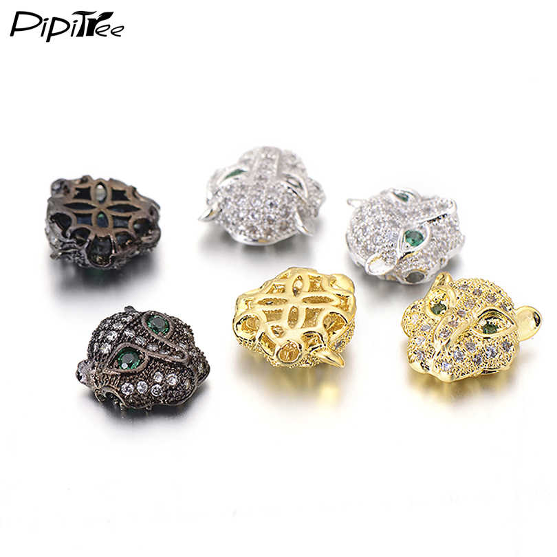 Pipitree leopard head bead micro pave cubic zirconia cz hạt đối với trang sức làm vòng đeo tay màu vàng spacer charm chất lượng cao