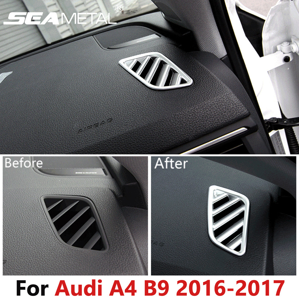 For audi a4 b9 sedan saloon 2016 2017 car air conditioning dashboard outlet frame stickers internal
