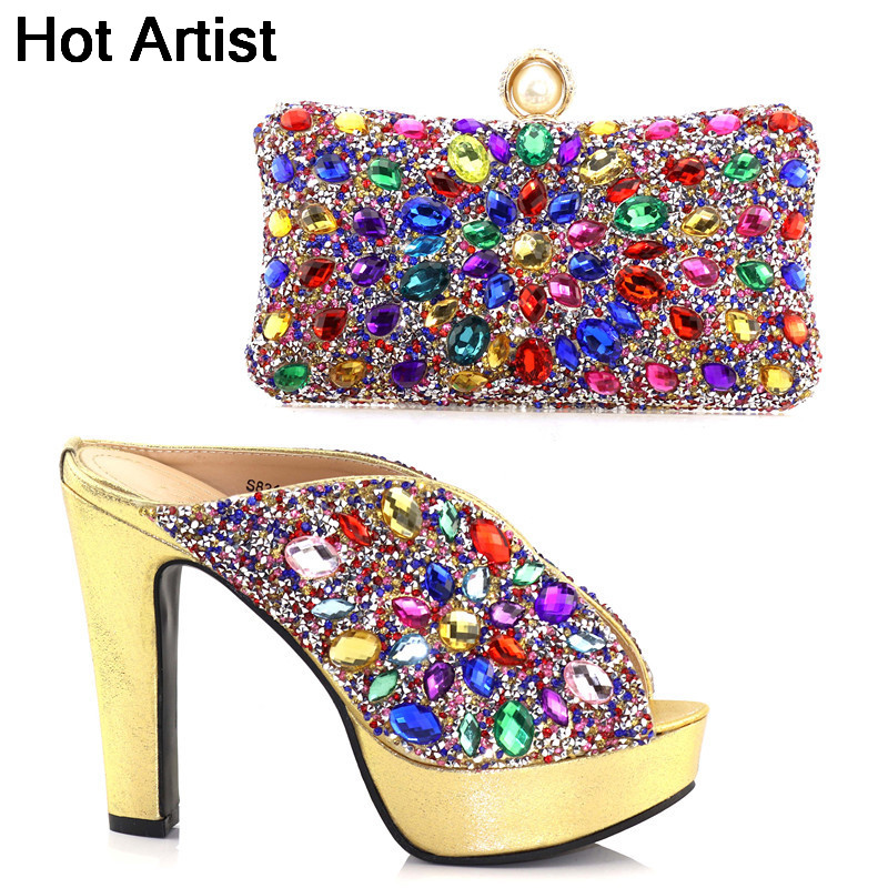 Hot Artist 2018 Italian Design Ladies Shoes And Purse Set Fashion High Heels 12.5CM Shoes And Bag Set For Wedding Party TX-S831