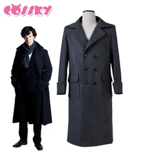 Sherlock Holmes Coat Cosplay Costume Man Winter Trench Wool Warm Windbreaker Black Long Jacket Outwear