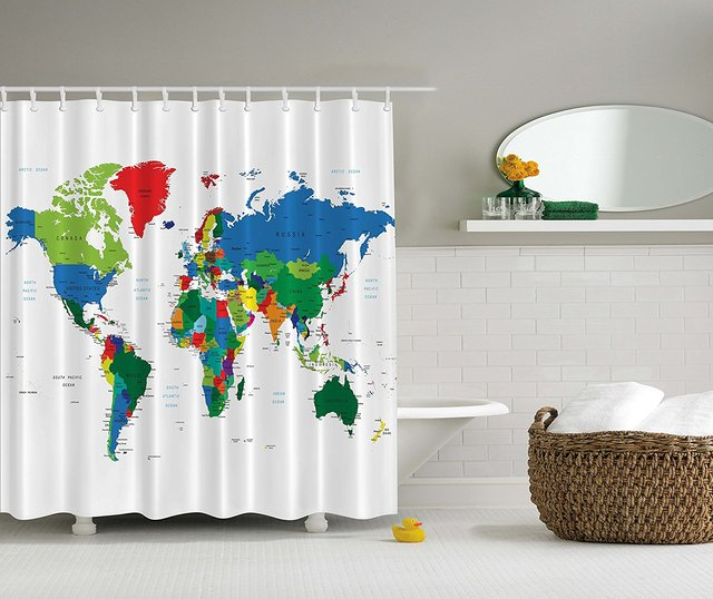 Memory Home World Map Shower Curtain Novelty Modern Home Designer Bath  Accessories Fabric Shower Curtain Green