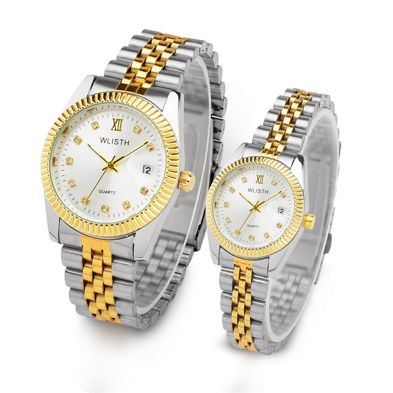 WLISTH Luxury Couple Watch Waterproof 30M Fashion Stainless Steel Lovers Watch Business Quartz Wrist Watches For Women & Man new fashion full stainless steel silver web band dress quartz wrist watch wristwatches for men women lovers couple