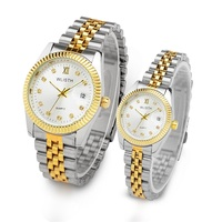 WLISTH Luxury Couple Watch Waterproof 30M Fashion Stainless Steel Lovers Watch Business Quartz Wrist Watches For Women & Man