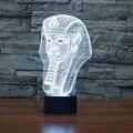 7 Cor Ilusion Férias Atmosfera Decorativa Caçoa o Presente Estilo Faraó 3D Luz CONDUZIDA Da Noite Decoração de Mesa Lâmpada de Mesa Iluminação Da Novidade