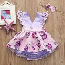 summer Toddler Baby Gilrs dress Sleeveless Lace Ruched Romper Jumpsuit Headband Floral Ouifit Princess wedding party dresses