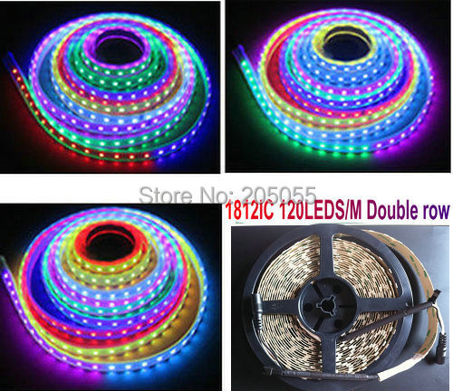 official photos 65950 72baf US $48.59 19% OFF|5M 5050 SMD Double row TM 1812 IC Dream Color RGB  Multicolor LED magic light Strip 16.4FT 600Led 120leds/M non waterproof-in  LED ...