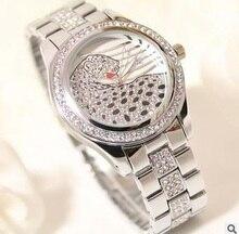 Corea Caliente nuevo de gama alta de encargo lista llena de diamantes señoras reloj reloj de las mujeres del leopardo de la manera