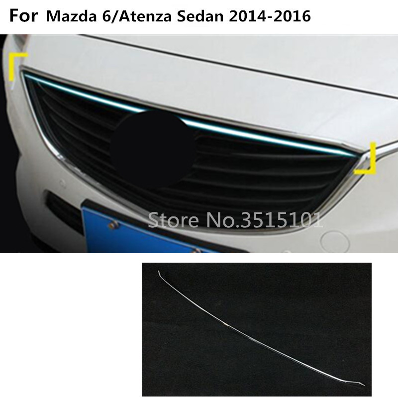 Car styling cover Bumper engine upper trims Front Grid Grill Grille frame edge trim 1pcs For Mazda 6/Atenza sedan 2014 2015 2016 car styling for mazda 6 m6 atenza 2014 2017 front bumper lower grille protector plate lip cover sticker trim decorative strip