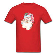 Lasting Charm Watercolor Santa Claus Men Red Sports T-shirt Short Sleeve T Shirt Company Drop Shipping(China)