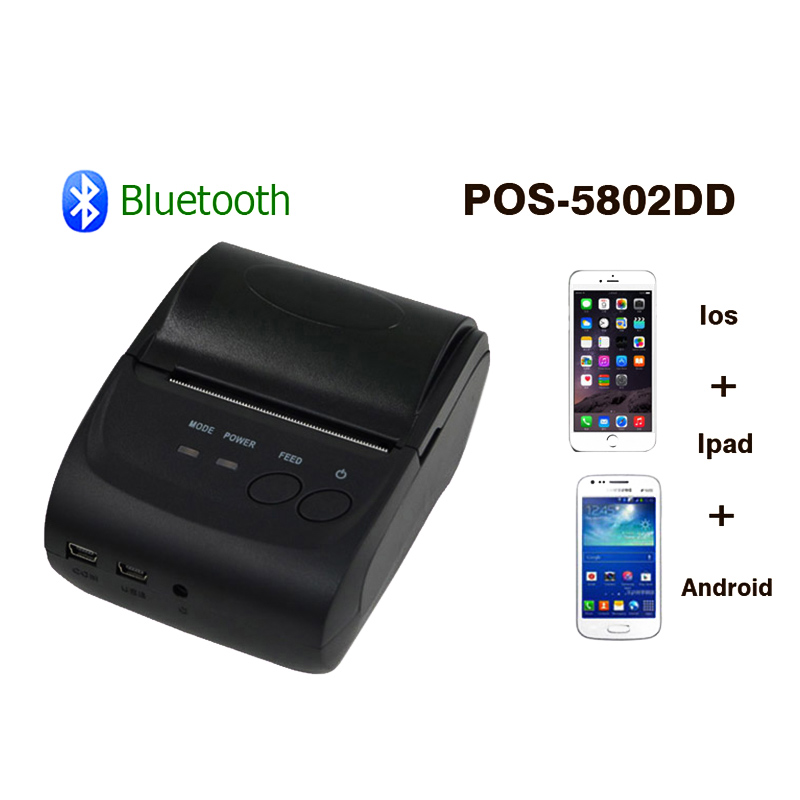 ZJiang 58mm Handheld Thermal Printer POS-5802 Portable USB Bluetooth Wireless Thermal Receipt Printer for Window IOS Android us plug thermal printer mini portable bluetooth wireless receipt thermal printer for android pc for restaurant supermarket