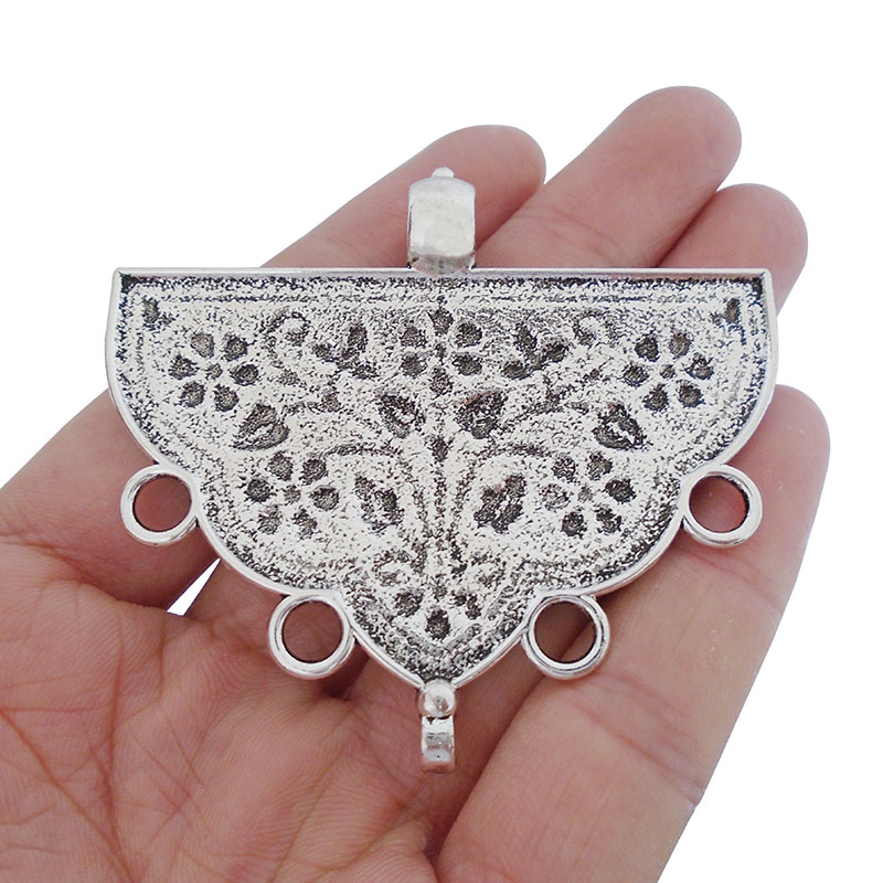 3 x Antique Silver Tone Large Tribal Boho Multi Strand Flower Connector Pendant for Necklace Jewelry Making Findings 65x59mm in Pendants from Jewelry Accessories