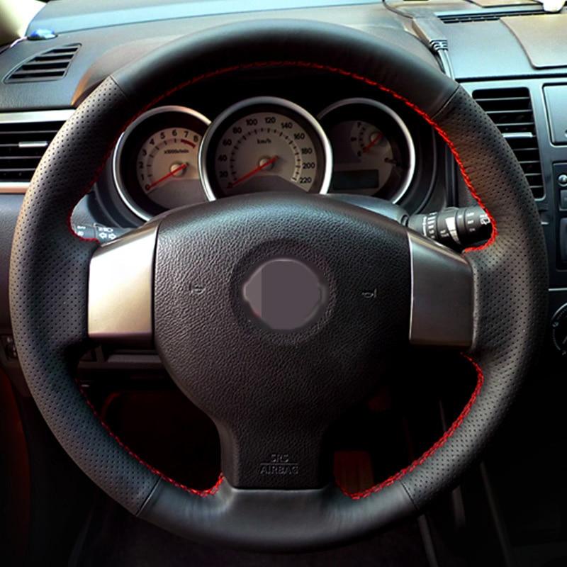 Črna prevleka za volan iz umetnega usnja za Nissan Tiida 2004-2010 - Dodatki za notranjost avtomobila - Fotografija 1