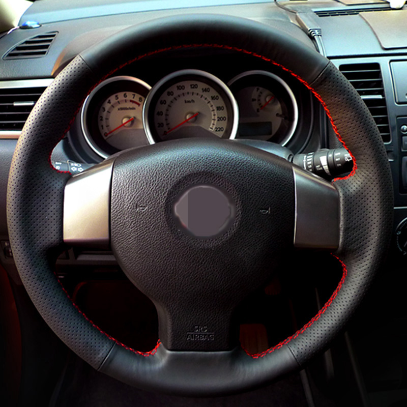 Hand-stitched Black Leather Steering Wheel Cover for Old Nissan Tiida Livina Sylphy Note цена