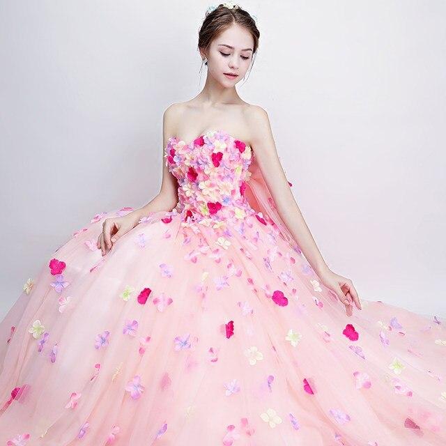 Tienda Online Darlingoddess nube Rosa flor Vestidos de novia 2017 ...
