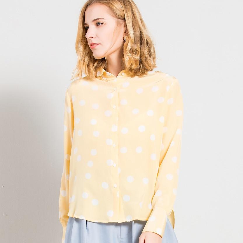 Imprimé Soie Naturelle Femmes Jaune 2018 Automne Décontractée À Chemise Lady Bureau De Nouveau 100 Points Shirt Longues Manches Bouton Haut EEW1vq