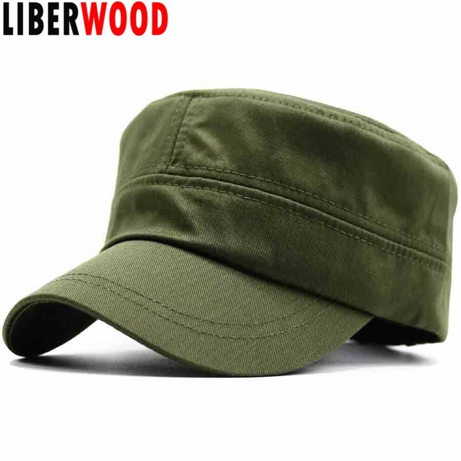 12ddf2a75ee LIBERWOOD Men s Tactical Hats Cotton Flat Top Peaked Baseball cap GI Army  Corps Hat Patrol Cadet