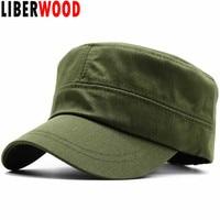 713b54956da LIBERWOOD Men s Tactical Hats Cotton Flat Top Peaked Baseball cap GI Army  Corps Hat Patrol Cadet