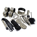 Adult Game Sexy leopard 10-pcs Set Handcuffs Gag Nipple Clamps Whip Collar Erotic Toy Leather Fetish Bondage Restraint Sex Toys