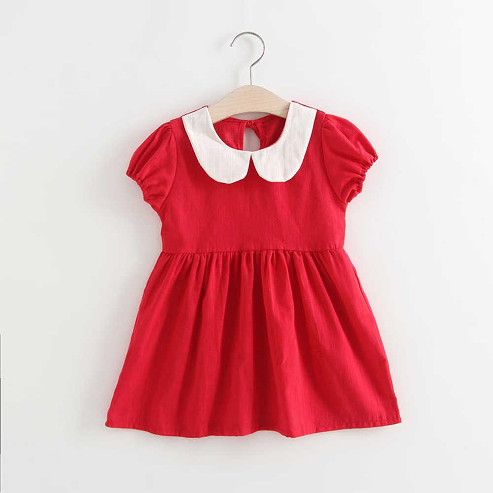 קיץ ילדה שמלת פאף שרוול מסיבת Elegent נסיכת שמלה עבור בנות ילדים תלבושות חמוד בובת צווארון שמלת vestido Dropship